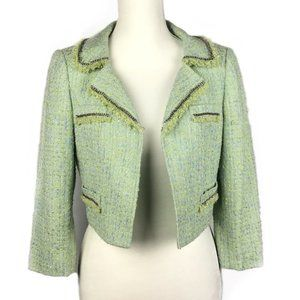 TAHARI Tweed Jacket Chain Detail Cropped Green